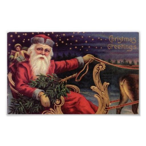 Christmas Greetings Santa Sleigh Print