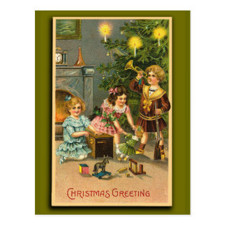 Christmas Greetings Victorian Art Xmas Cards Postcard