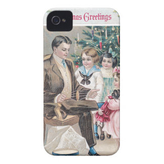 Christmas Greetings Vintage Card iPhone 4 Case-Mate Cases