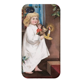 Christmas Greetings Vintage Christmas Card Design Case For iPhone 4