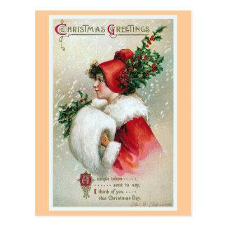 """Christmas Greetings"" Vintage Postcard"