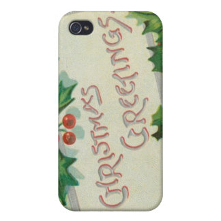 Christmas Greetings with Holly Cases For iPhone 4
