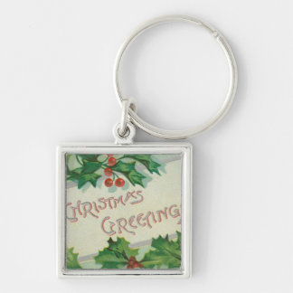 Christmas Greetings with Holly Silver-Colored Square Key Ring