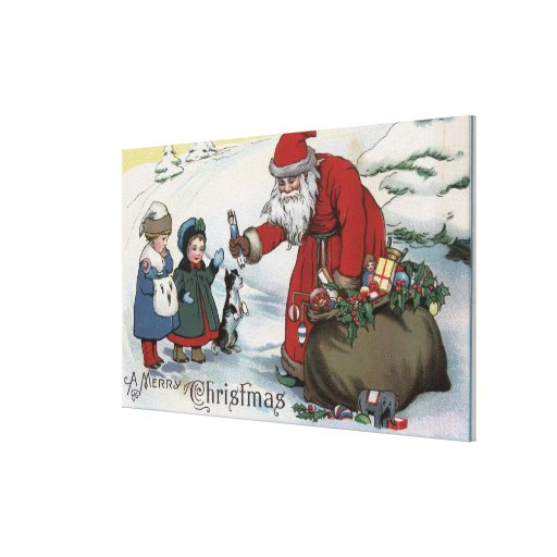 Christmas GreetingSanta and Kids Stretched Canvas Prints