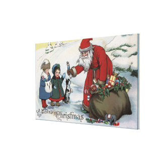 Christmas GreetingSanta and Kids Canvas Print