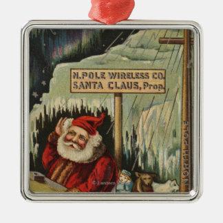 Christmas GreetingSanta at North Pole Christmas Ornament
