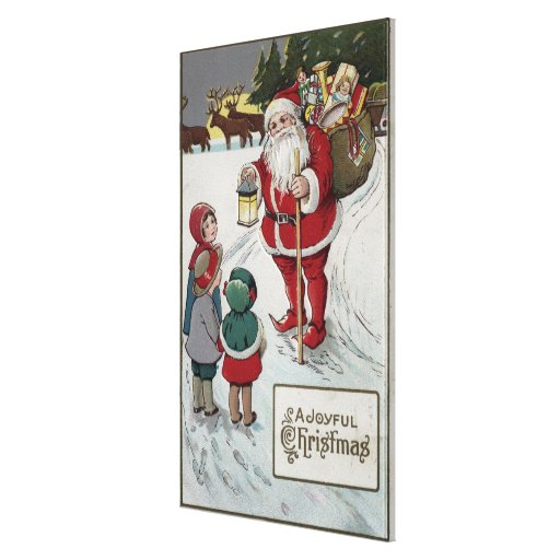 Christmas GreetingSanta Talking to Kids Gallery Wrapped Canvas