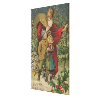 Christmas GreetingSanta Walking with Kids Stretched Canvas Print