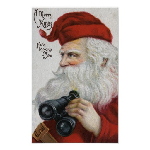 Christmas GreetingSanta with Binoculars Print