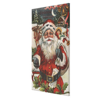 Christmas GreetingSanta with Deer and Kids Canvas Prints
