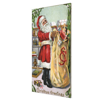 Christmas GreetingSanta with Large Sack Canvas Print