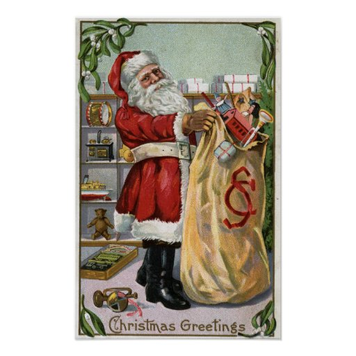 Christmas GreetingSanta with Large Sack Poster