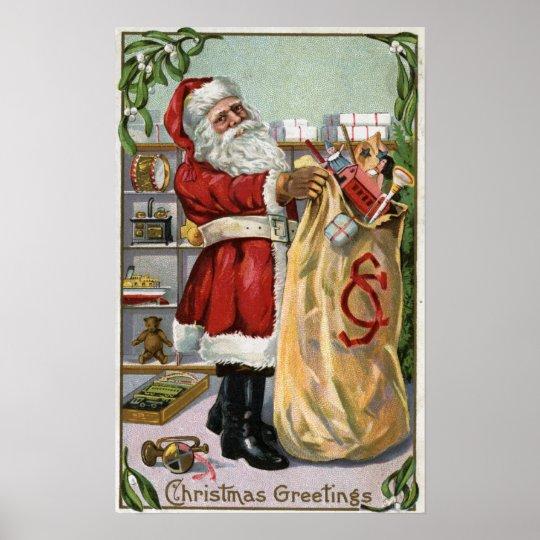 Christmas GreetingSanta with Large Sack Poster