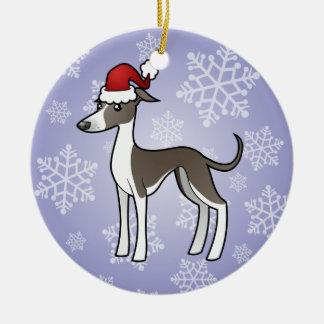 Christmas Greyhound / Whippet / Italian Greyhound Round Ceramic Decoration