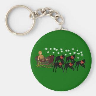 Christmas Greyhounds Sleigh Holiday Keychain