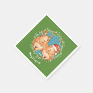Christmas Guinea Pig Couple Wreath Personalized Disposable Serviette