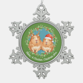 Christmas Guinea Pig Couple Wreath Personalized Snowflake Pewter Christmas Ornament