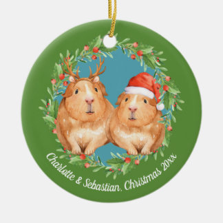 Christmas Guinea Pigs Santa and Reindeer Wreath Christmas Ornament