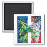 CHRISTMAS H LETTER / SANTA WITH CHRISTMAS TREE REFRIGERATOR MAGNET