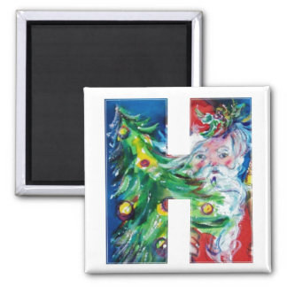 CHRISTMAS H LETTER / SANTA WITH CHRISTMAS TREE SQUARE MAGNET