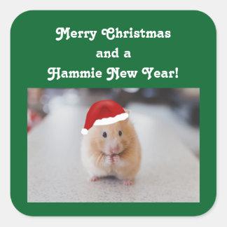 Christmas Hamster Square Sticker