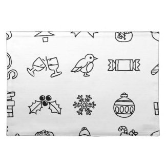 Christmas Hand Drawn Icon Set Placemat