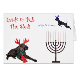 Christmas Hanukkah Poodle Dog w Menorah Card
