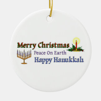 Christmas Hanukkah Round Ceramic Decoration