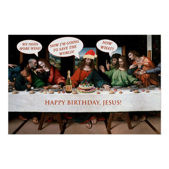 Christmas Happy Birthday Jesus Comics Style Funny Poster