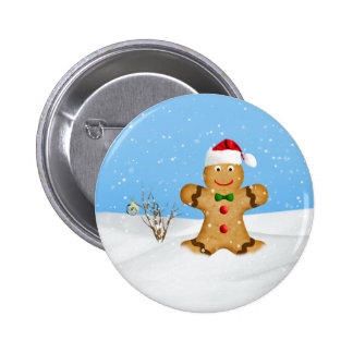 Christmas, Happy Gingerbread Man in Snow 6 Cm Round Badge