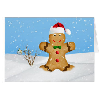Christmas, Happy Gingerbread Man in Snow Greeting Card