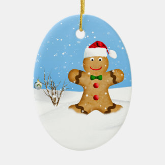 Christmas, Happy Gingerbread Man in Snow Christmas Ornament