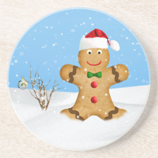 Christmas, Happy Gingerbread Man in Snow Drink Coaster
