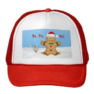Christmas, Happy Gingerbread Man in Snow Trucker Hat