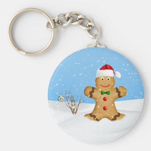 Christmas, Happy Gingerbread Man in Snow Key Chains