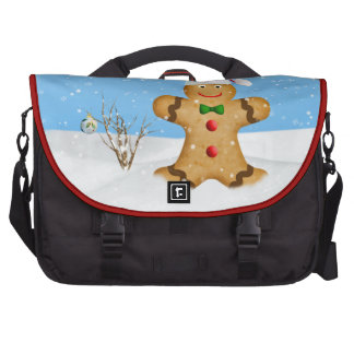 Christmas Happy Gingerbread Man in Snow Bags For Laptop