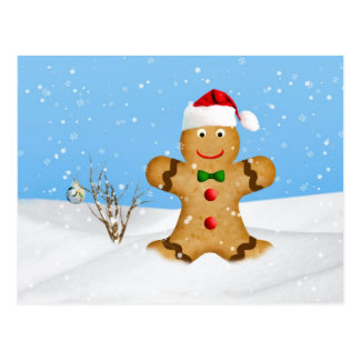 Christmas, Happy Gingerbread Man in Snow Postcard
