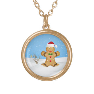 Christmas, Happy Gingerbread Man in Snow Round Pendant Necklace