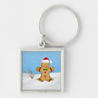 Christmas, Happy Gingerbread Man in Snow Silver-Colored Square Key Ring