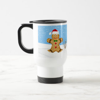 Christmas, Happy Gingerbread Man in Snow Stainless Steel Travel Mug
