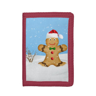 Christmas, Happy Gingerbread Man in Snow Trifold Wallets