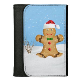 Christmas, Happy Gingerbread Man in Snow Wallets