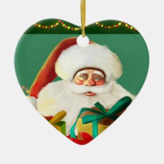 Christmas, happy Jolly Santa Claus Christmas Ornam Ceramic Heart Decoration