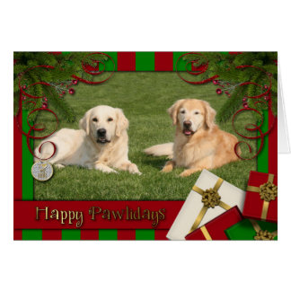 Christmas - Happy Pawlidays - Golden Retrievers Card