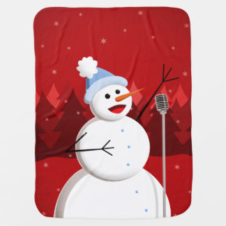 Christmas Happy Singing Snowman Receiving Blankets