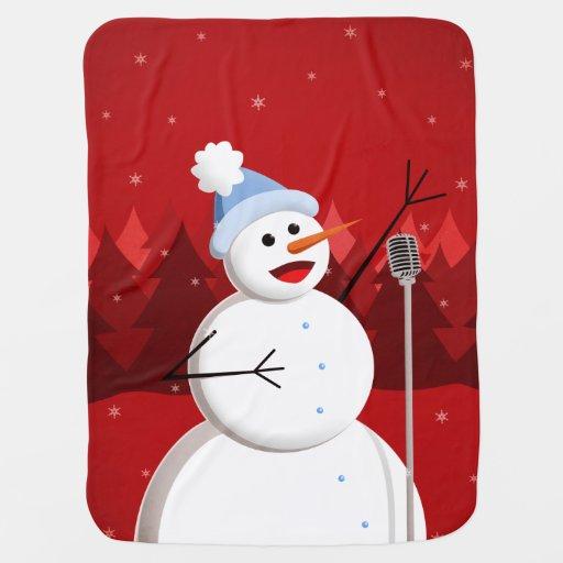 Christmas Happy Singing Snowman Stroller Blanket