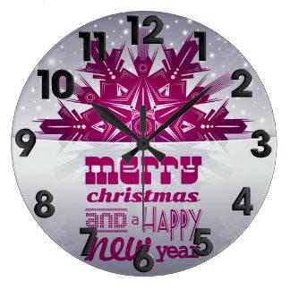 Christmas happy year large clock