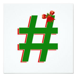 #Christmas #HASHTAG - Hash Tag Symbol 13 Cm X 13 Cm Square Invitation Card