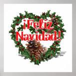 Christmas Heart Wreath (Feliz Navidad) Poster