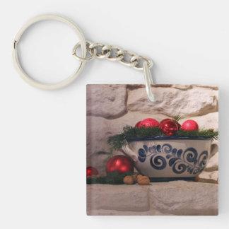 Christmas Hearth Square Acrylic Key Chain